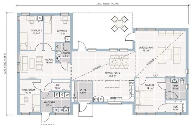 Lb hus choice 173 nf for Plan maison moderne 140m2